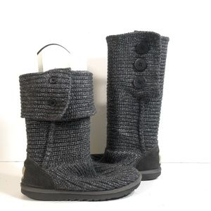 Ugg 1876 Women Gray Cardy Knit Sweater Boots Sz 6